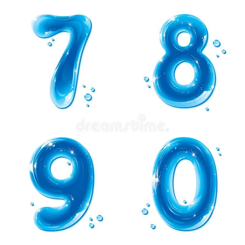 Serie di ABC - innaffi i numeri liquidi - 7 8 9 0 illustrazione vettoriale