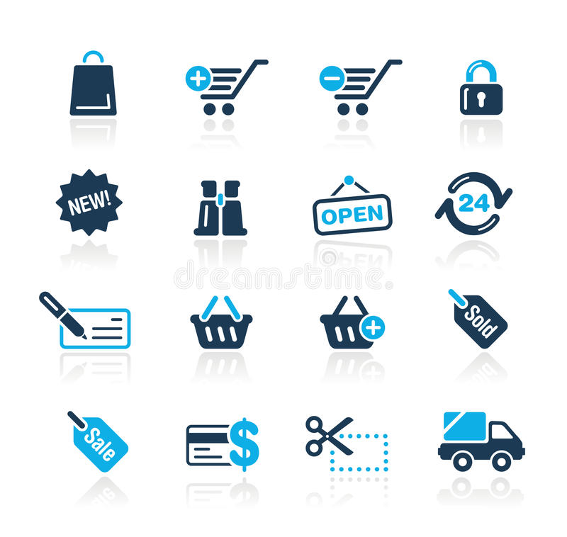 Serie di azzurro di // di acquisto illustrazione di stock