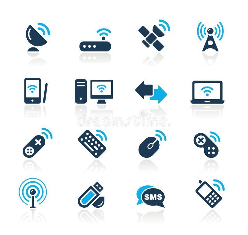 Serie di azzurro di // di comunicazioni & della radio illustrazione di stock