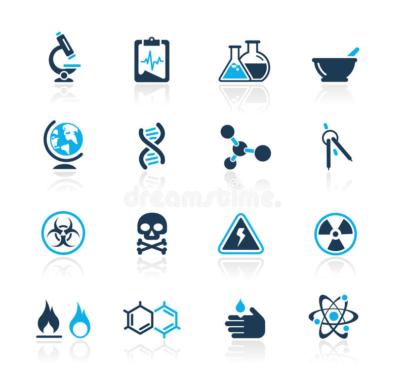 Serie di azzurro di // di scienza illustrazione di stock