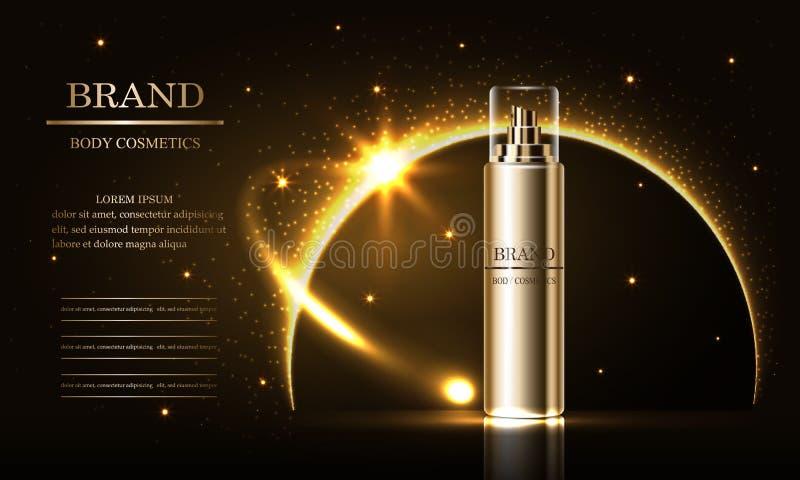 Serie di bellezza dei cosmetici, annunci della crema premio dello spruzzo per cura di pelle Modello per il manifesto di progettaz royalty illustrazione gratis