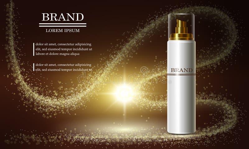 Serie di bellezza dei cosmetici, annunci della crema premio dello spruzzo per cura di pelle Modello per le insegne di progettazio royalty illustrazione gratis