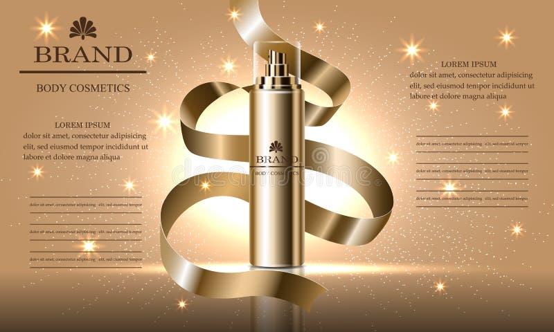 Serie di bellezza dei cosmetici, annunci della crema premio per cura di pelle, nastro dello spruzzo dell'oro Illustrazione di vet illustrazione di stock