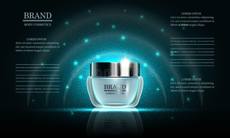 Serie di bellezza dei cosmetici, crema per il corpo premio illustrazione di stock