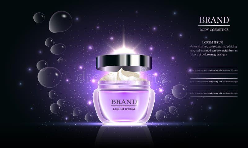Serie di bellezza dei cosmetici, crema per il corpo premio per cura di pelle su fondo porpora, modello per gli annunci di progett illustrazione di stock