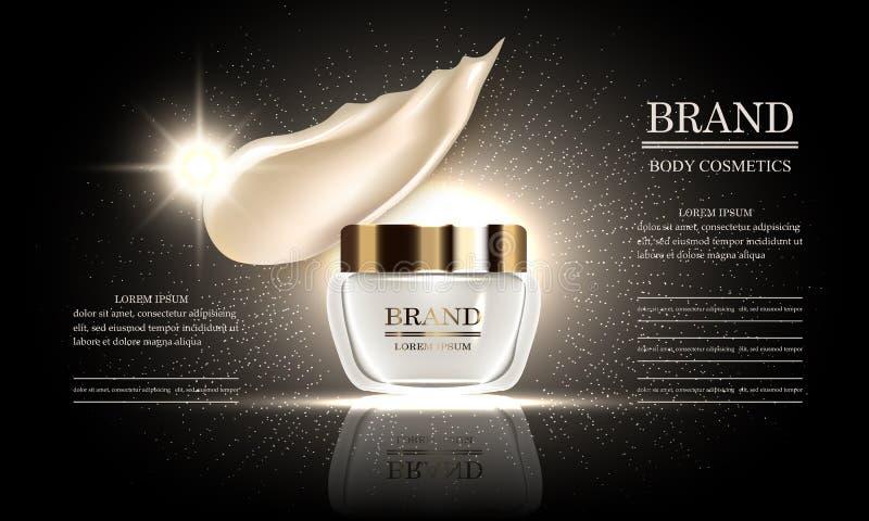 Serie di bellezza dei cosmetici, crema per il corpo premio per cura di pelle e sbavatura di trucco del liquido, modello per le in illustrazione vettoriale