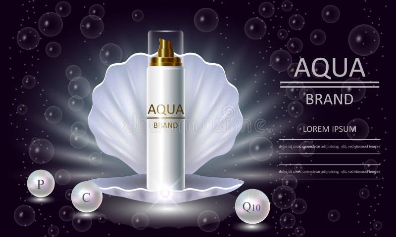 Serie di bellezza dei cosmetici, spruzzo premio della perla del corpo che imballa per la cura di pelle Modello per le insegne di  illustrazione di stock