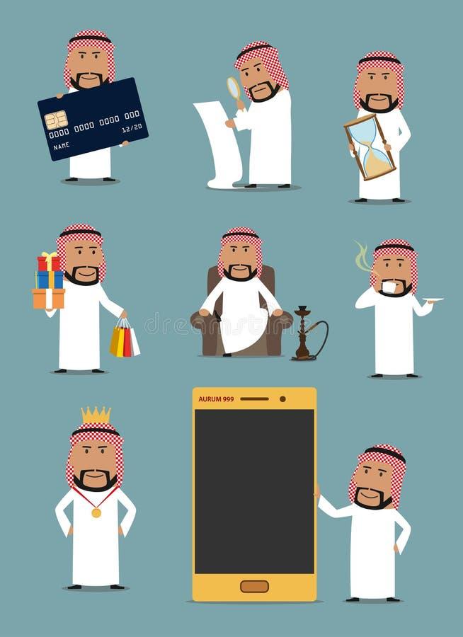 Serie di caratteri araba ricca del fumetto dell'uomo d'affari illustrazione di stock