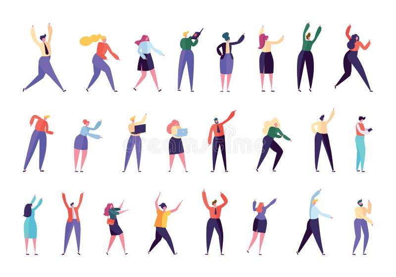 Serie di caratteri creativa della gente dell'agenzia di affari Uomo d'affari Work Isolated Vario impiegato Team Stand Together di illustrazione vettoriale