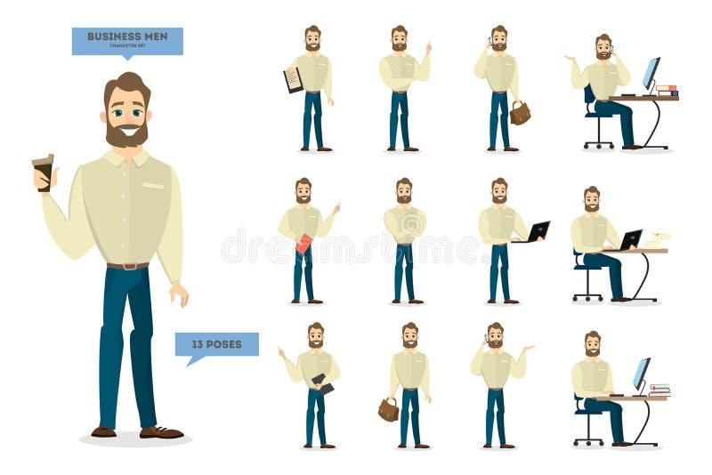 Serie di caratteri dell'uomo d'affari illustrazione vettoriale