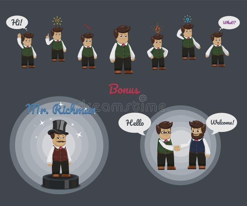 Serie di caratteri dell'uomo d'affari con alcuni icone e fumetti royalty illustrazione gratis