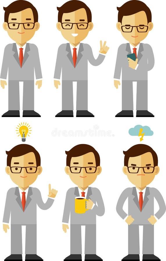 Serie di caratteri dell'uomo d'affari nelle pose differenti illustrazione di stock
