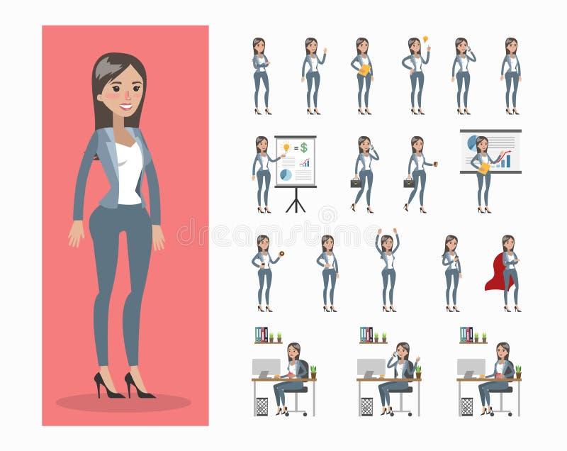 Serie di caratteri della donna di affari illustrazione di stock