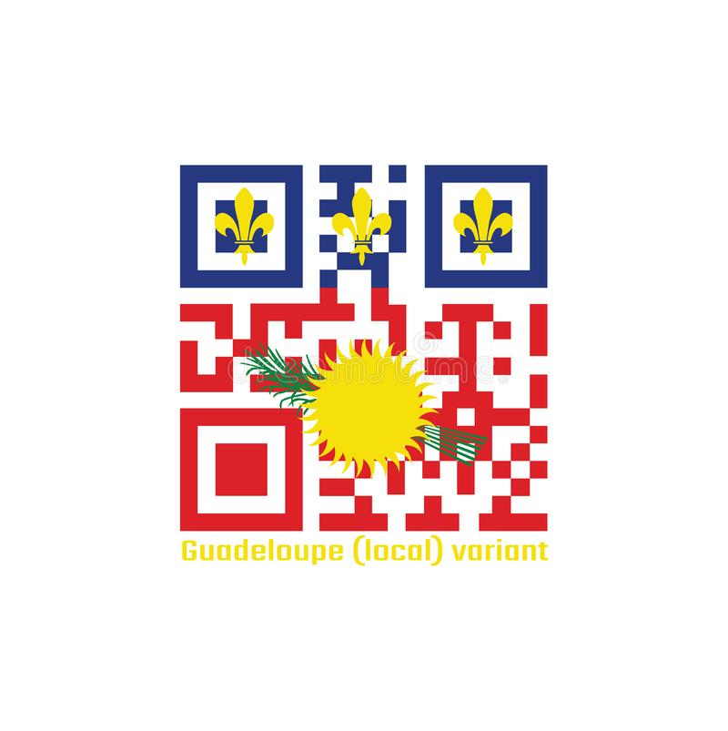 Serie di codici di QR il colore della bandiera locale della Guadalupa, campo rosso con il sole giallo e la canna da zucchero verd royalty illustrazione gratis