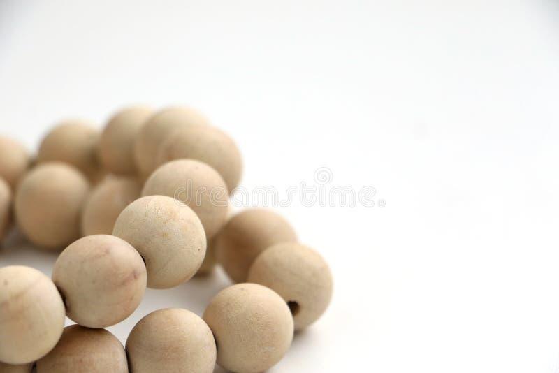 Serie di collana di legno delle perle fotografia stock