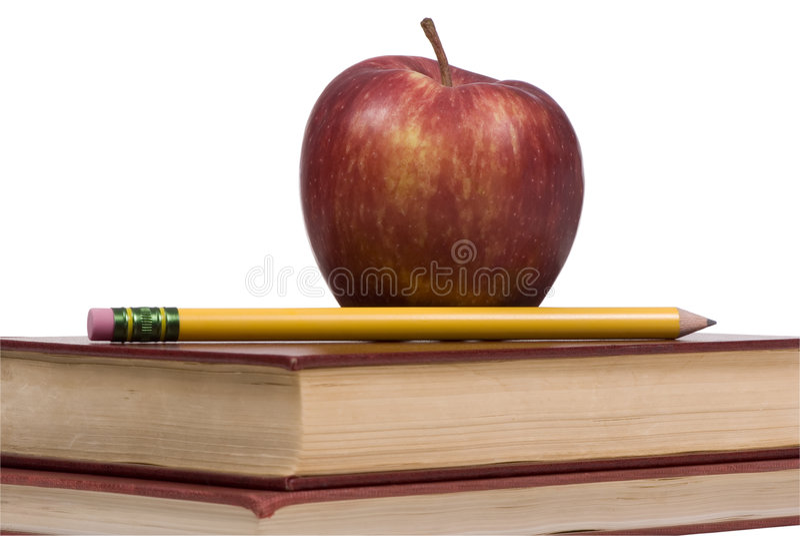 Serie di formazione (mela e libri 4) fotografia stock libera da diritti