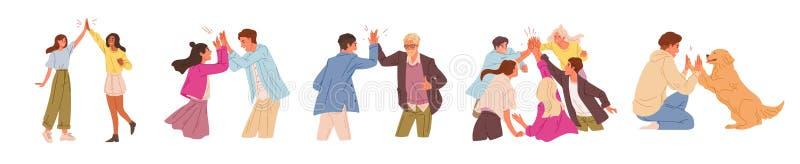 Serie di illustrazioni vettoriali piane di saluto informali Gente felice, cinque isolati su sfondo bianco Felice royalty illustrazione gratis
