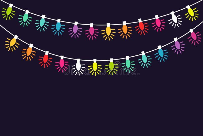 Serie di luci di Natale variopinte illustrazione di stock