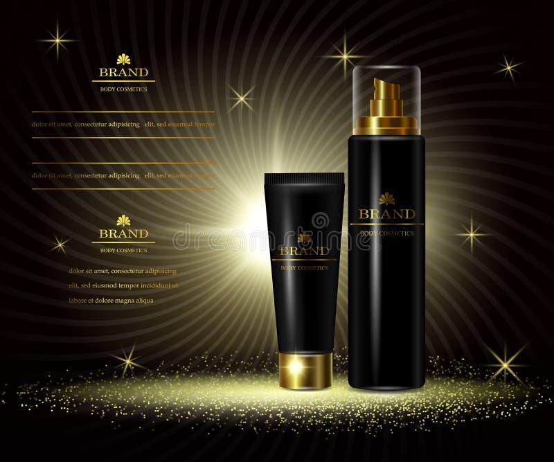 Serie di lusso di bellezza dei cosmetici, annunci della crema per il corpo premio per cura di pelle Modello per i bavvers di prog illustrazione di stock
