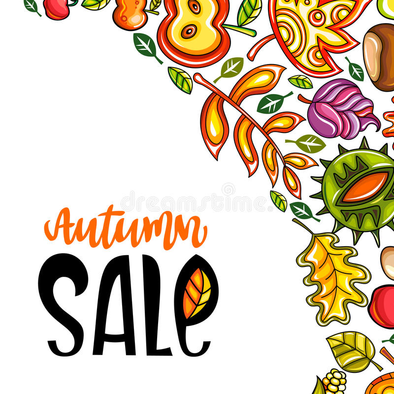 Serie di vendita di autunno illustrazione di stock