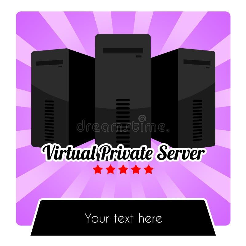 SERIE DI WEB HOSTING - MODELLO DEL SERVER PRIVATO VIRTUALE VPS illustrazione vettoriale