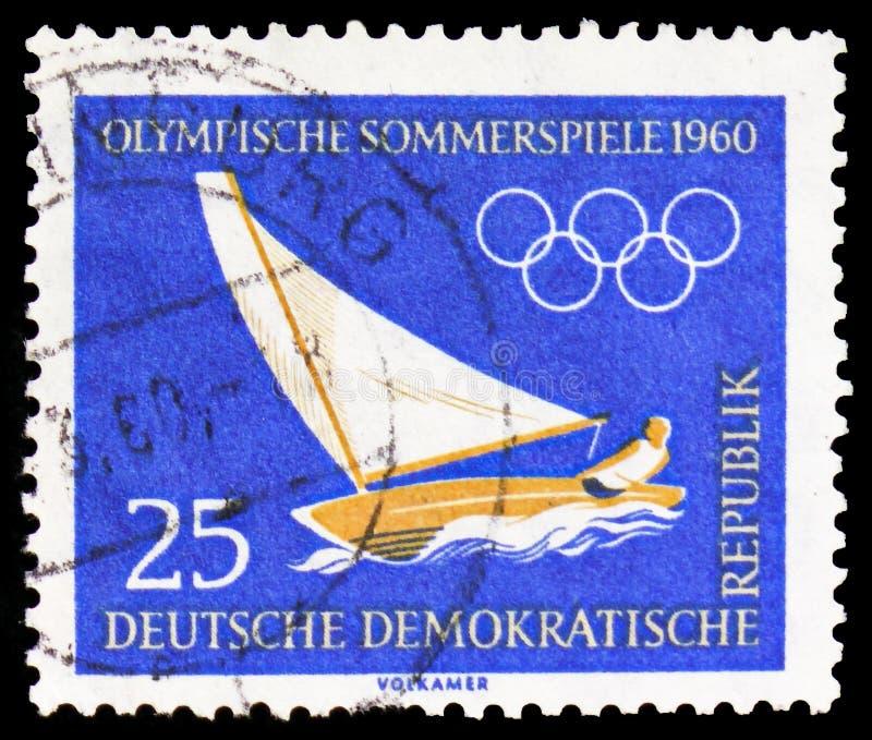 Serie dos Olympics 1960 da navigação, do verão e de inverno, da Roma e do Squaw Valley, cerca de 1960 imagem de stock royalty free