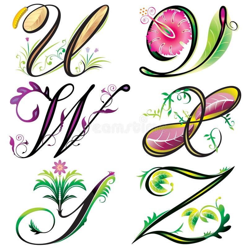 serie för alfabetdesignelement till u z vektor illustrationer