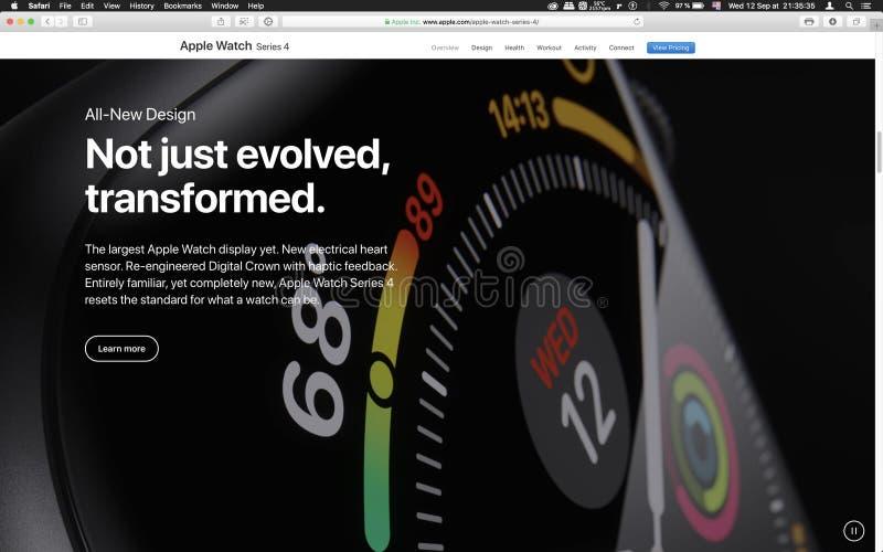 Serie 4 för Apple-datorlanseringsApple klocka arkivbild