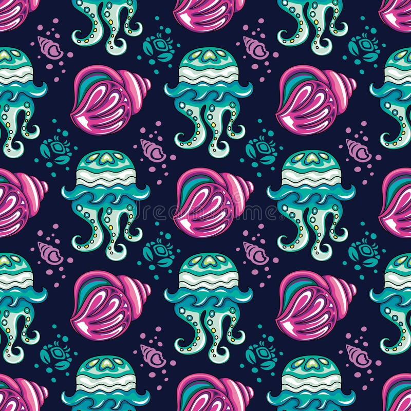 Serie för bakgrund för havslopp sömlös vektor illustrationer