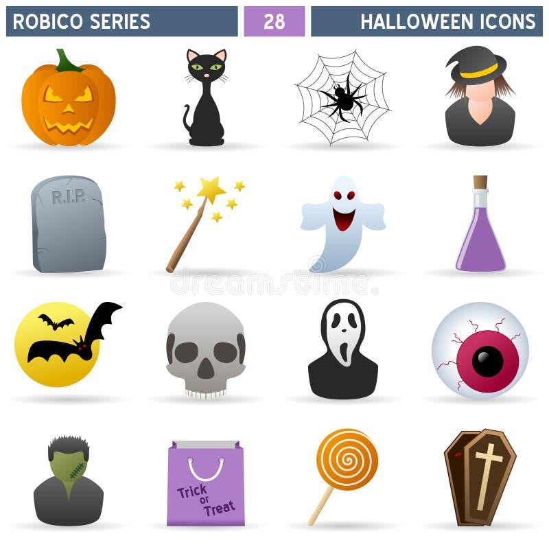 serie för halloween symbolsrobico vektor illustrationer