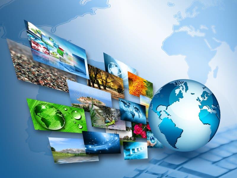 serie för internet för hand för bäst jordklot för affärsidébegrepp globalt glödande vektor illustrationer