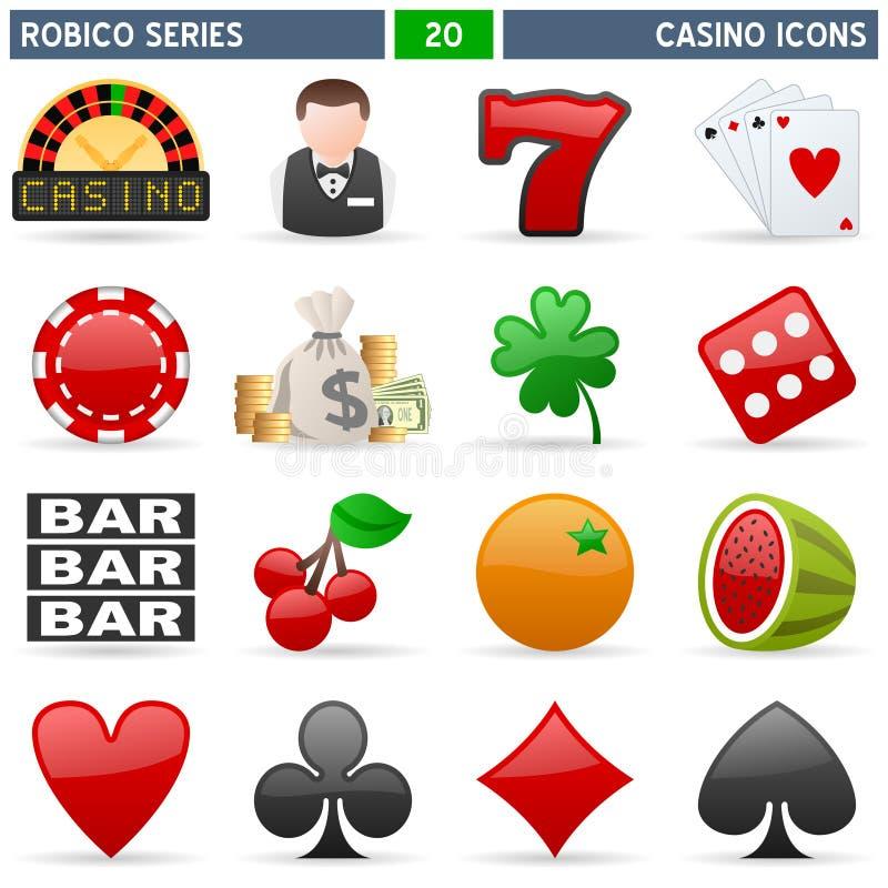 serie för kasinosymbolsrobico vektor illustrationer