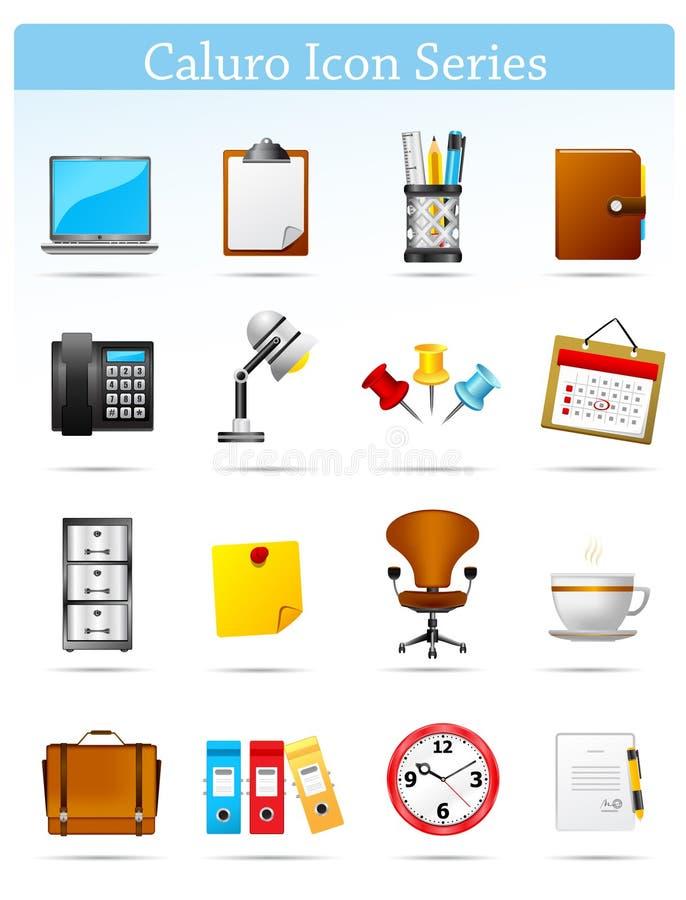 serie för kontor för businnescalorusymbol royaltyfri illustrationer