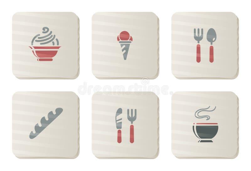 serie för restaurang för pappmatsymboler vektor illustrationer