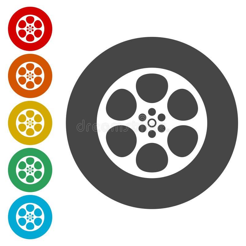 serie för rulle för filmsymbol röd vektor illustrationer