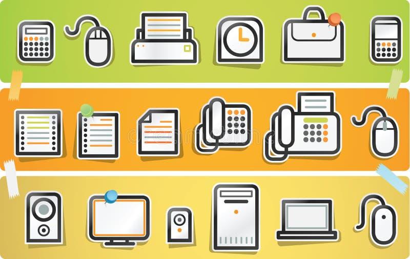 serie för symbolskontorspapercut stock illustrationer
