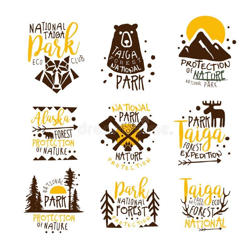 Serie för tecken för Alaska nationalparkPromo av färgrika vektordesignmallar med vildmarkbeståndsdelkonturer stock illustrationer