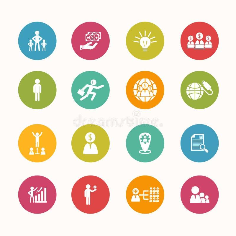 Serie fijada iconos del círculo de las finanzas ilustración del vector