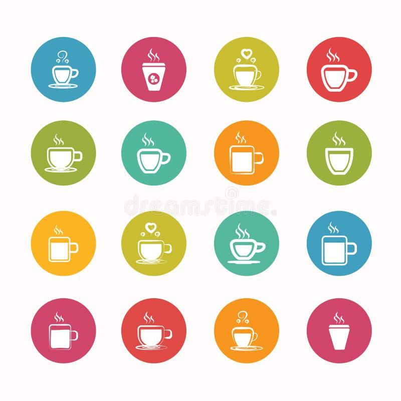 Serie fijada iconos del círculo del café libre illustration