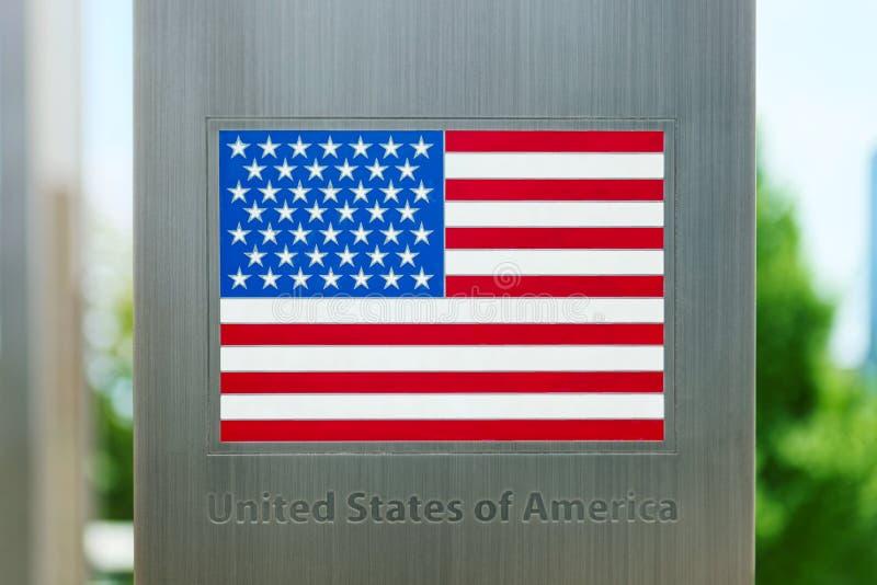 Serie flaga państowowa na metalu słupie - Stany Zjednoczone zdjęcia royalty free