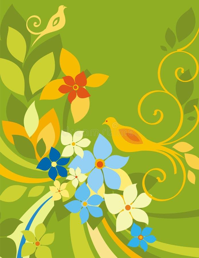 Serie floral del fondo del pájaro stock de ilustración