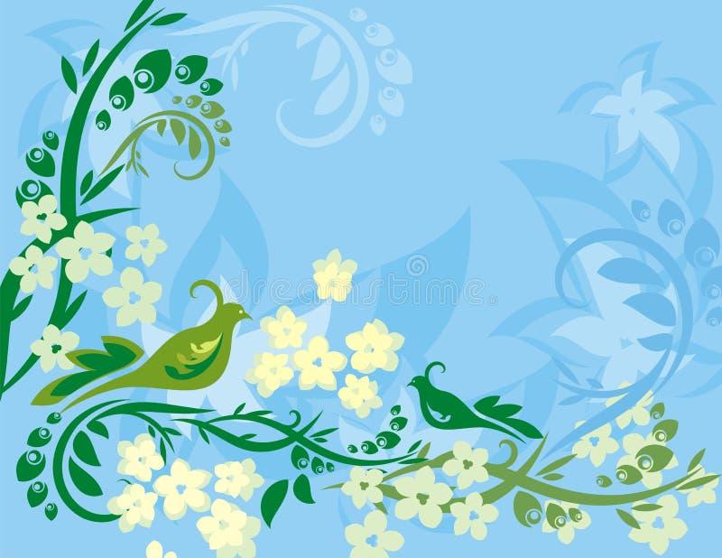 Serie floral del fondo del pájaro ilustración del vector