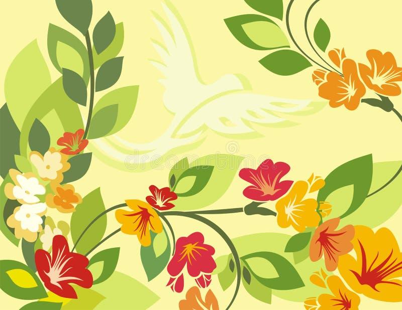 Serie floreale della priorità bassa dell'uccello illustrazione vettoriale
