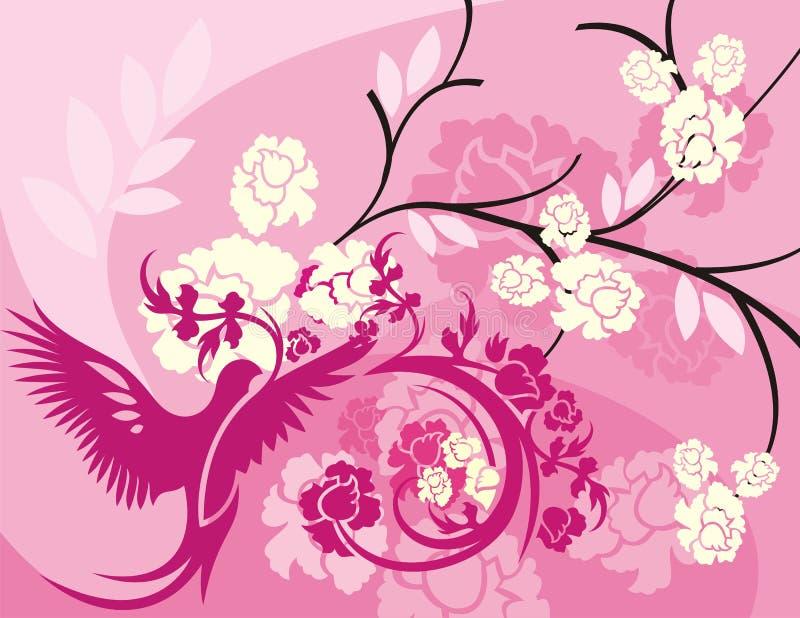 Serie floreale della priorità bassa dell'uccello royalty illustrazione gratis