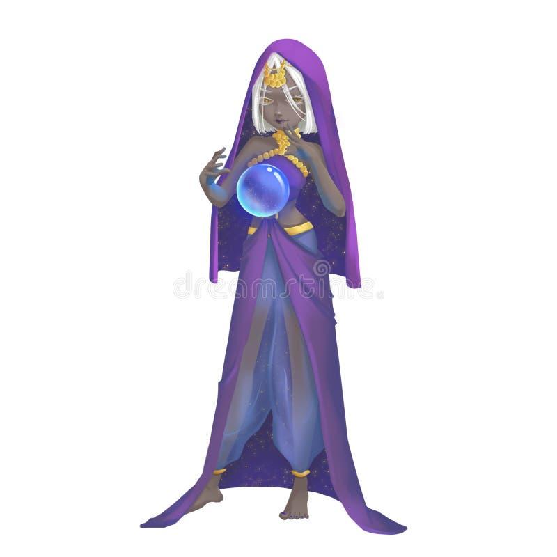 Serie fresca de los caracteres: Astrólogo de la muchacha de la India aislado en el fondo blanco ilustración del vector