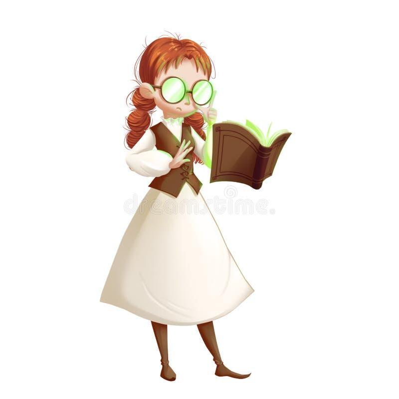 Serie fresca de los caracteres: Muchacha mágica en el fondo blanco ilustración del vector