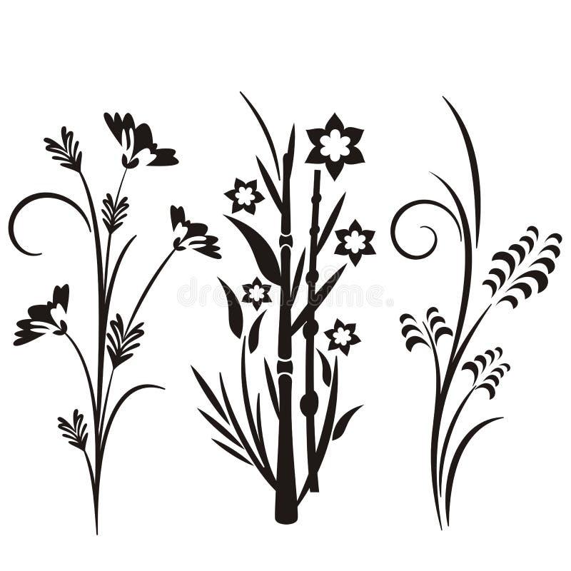 Serie giapponese di disegno floreale royalty illustrazione gratis