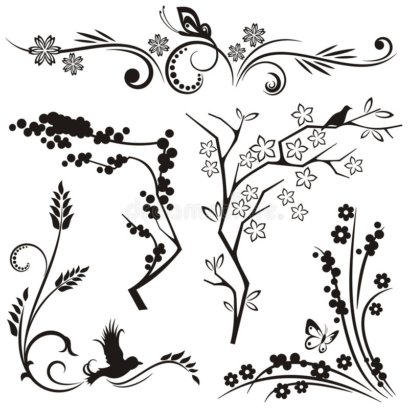 Serie japonesa del diseño floral libre illustration