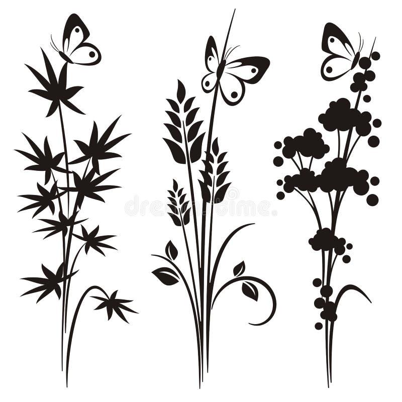 Serie japonesa del diseño floral ilustración del vector
