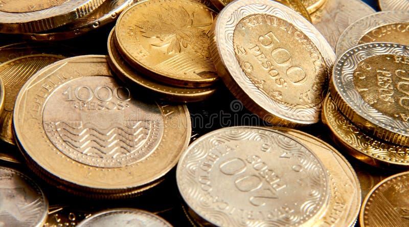 Serie Kolumbijskie monety obraz stock